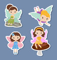 collection of beautiful fairy stickers collection vector image vector image