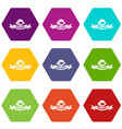 control machinery icons set 9 vector image vector image
