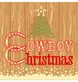 Cowboy Christmas card with decor rope tree vector image vector image