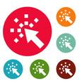 cursor internet icons circle set vector image vector image