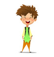 cute boy in standing position showing thumb vector image