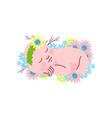 cute newborn baby girl in flower headband sleeping vector image vector image