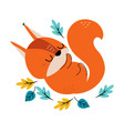 cute red squirrel with bushy tail sleeping in vector image vector image