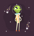 cute smiling alien posing with arms akimbo vector image