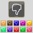 Dislike icon sign Set with eleven colored buttons vector image vector image