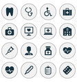 drug icons set with medicine body check pulse vector image