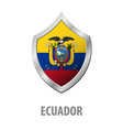ecuador flag on metal shiny shield vector image vector image