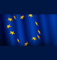 european union flag waving banner vector image
