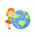 flat girl hugging earth planet character vector image vector image