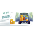 furniture delivery banner with truck and boxes vector image