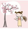 Geisha woman with an umbrella and butterfly vector image