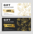gift voucher woth autumn leaves and acron in gold vector image vector image