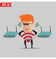 Hacker on wireless network - - EPS10 vector image vector image