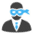 halftone dot masked thief icon vector image vector image