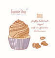 hand drawn cupcake coffee flavor vector image vector image