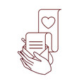 hands with gift list isolated icon vector image vector image