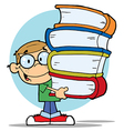 Happy Smart School Boy Carrying A Stack Of Books vector image vector image