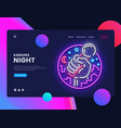 karaoke neon horizontal web banner live vector image vector image