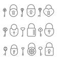 Lock keyhole and keys line art icons set vector image