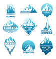 mountain logo badges with ice rock pictures vector image
