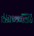 musical instruments neon tubed silhouette vector image vector image
