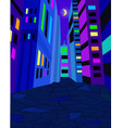 night city street with bright lights moon in the vector image