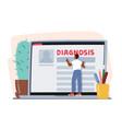 online medicine concept patient male character vector image vector image