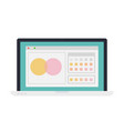 open browser window on laptop flat isolated vector image