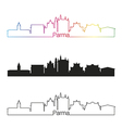 Parma skyline linear style with rainbow vector image vector image