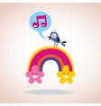 rainbow flowers and singing bird vector image vector image