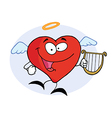 Red Heart Angel Character Flying With A Lyre vector image vector image