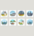 set icons urban and rural landscapes vector image vector image
