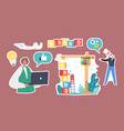 set stickers brand building business vector image vector image