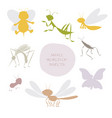 silhouettes of insects isolated on white vector image