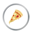 Slice of pizza icon in cartoon style isolated on vector image