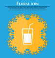 Soft drink icon Floral flat design on a blue vector image