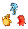 three funny monsters vector image vector image