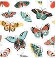 tropical butterflies and moths with wings seamless vector image vector image