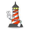 two finger cartoon realistic red lighthouse vector image