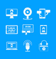 webinar training online icons set simple style vector image
