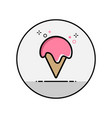 ice cream in a cup of wine flat line icon vector image