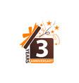 3 years gift box ribbon anniversary vector image vector image