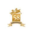 58 years gift box ribbon anniversary vector image vector image