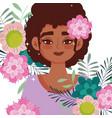 afro american woman cartoon flower in head vector image vector image