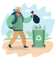 bearded young man with rubbish bag vector image