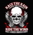 biker rain and wind vector image