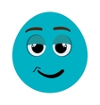 blue cartoon face with chill expression vector image vector image
