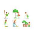children volunteering in garden or park set vector image vector image