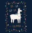 christmas or winter holidays card with llama and vector image vector image