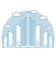 city view with high buildings clouds trees vector image vector image